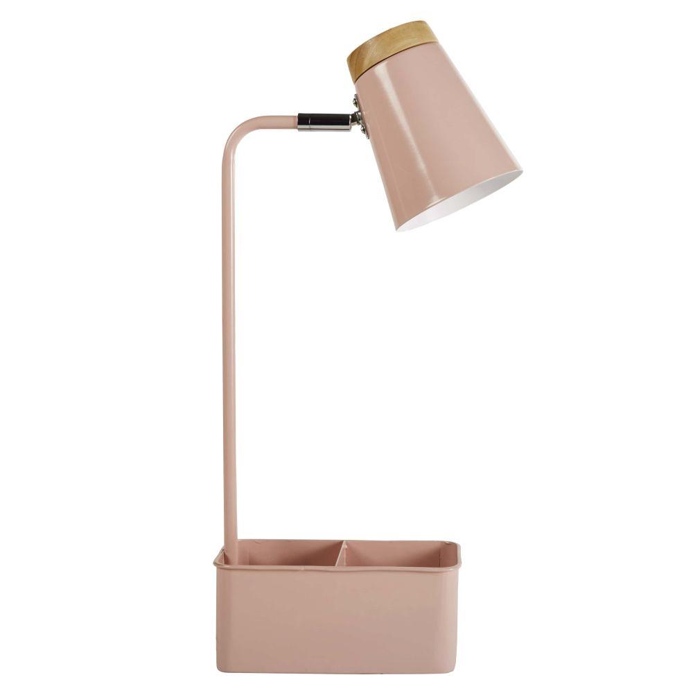 Schreibtischlampe mit Stifthalter aus rosafarbenem Metall und Heveaholz