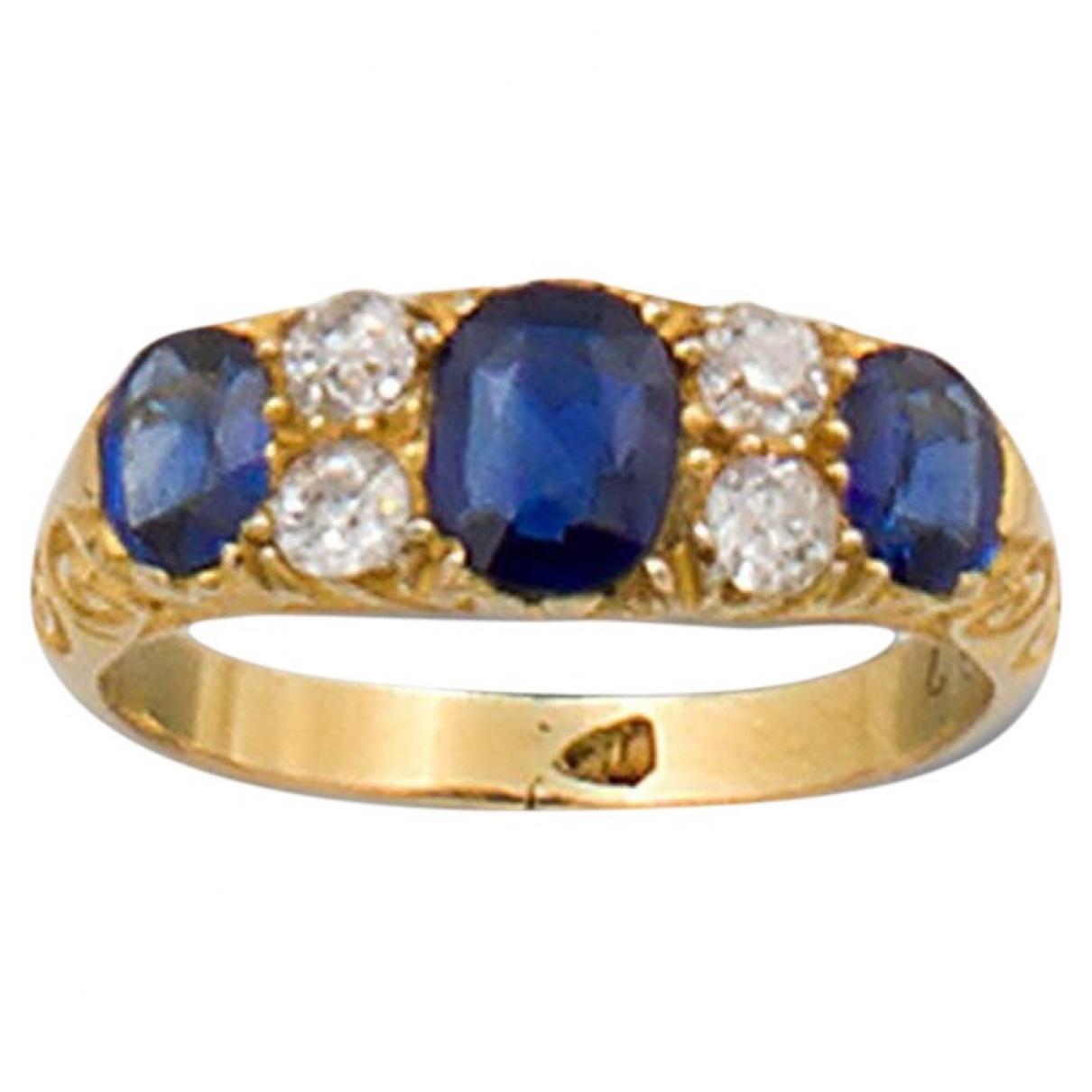 - Bague Saphir pour femme en or jaune - bleu