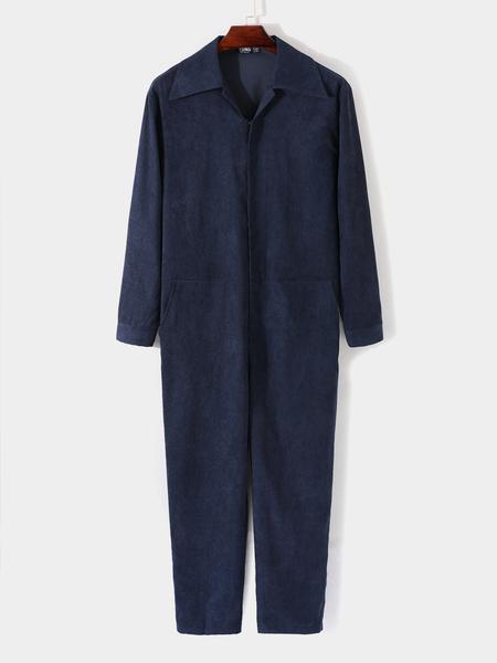 Yoins Men Corduroy Solid Color Zip Front Long Sleeve Overalls Jumpsuit