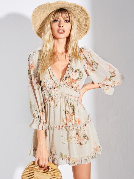 YOINS Beige Floral Backless Ruffle Trim Deep V-neck Dress
