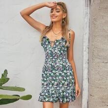 D&M vestido floral de margarita bajo fruncido con abertura con tira