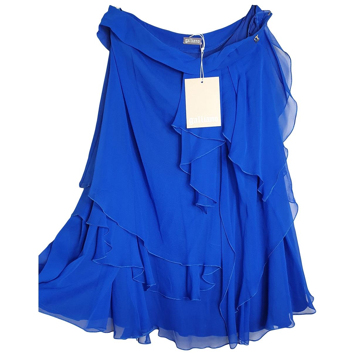 Galliano - Jupe   pour femme en soie - bleu