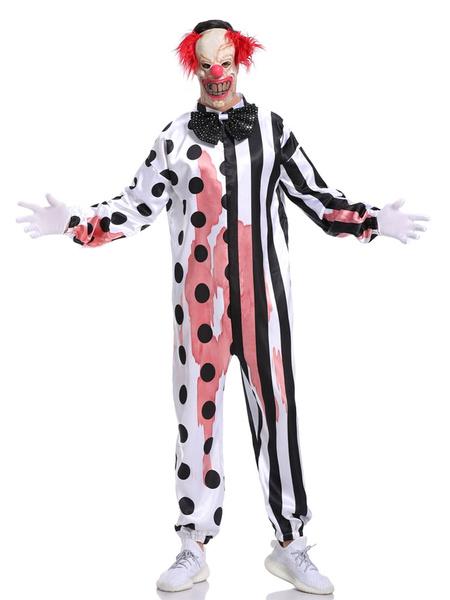 Milanoo Disfraz Halloween Payaso Disfraces de Halloween Mono blanco Guantes Rayas a lunares Disfraces de vacaciones Carnaval Halloween