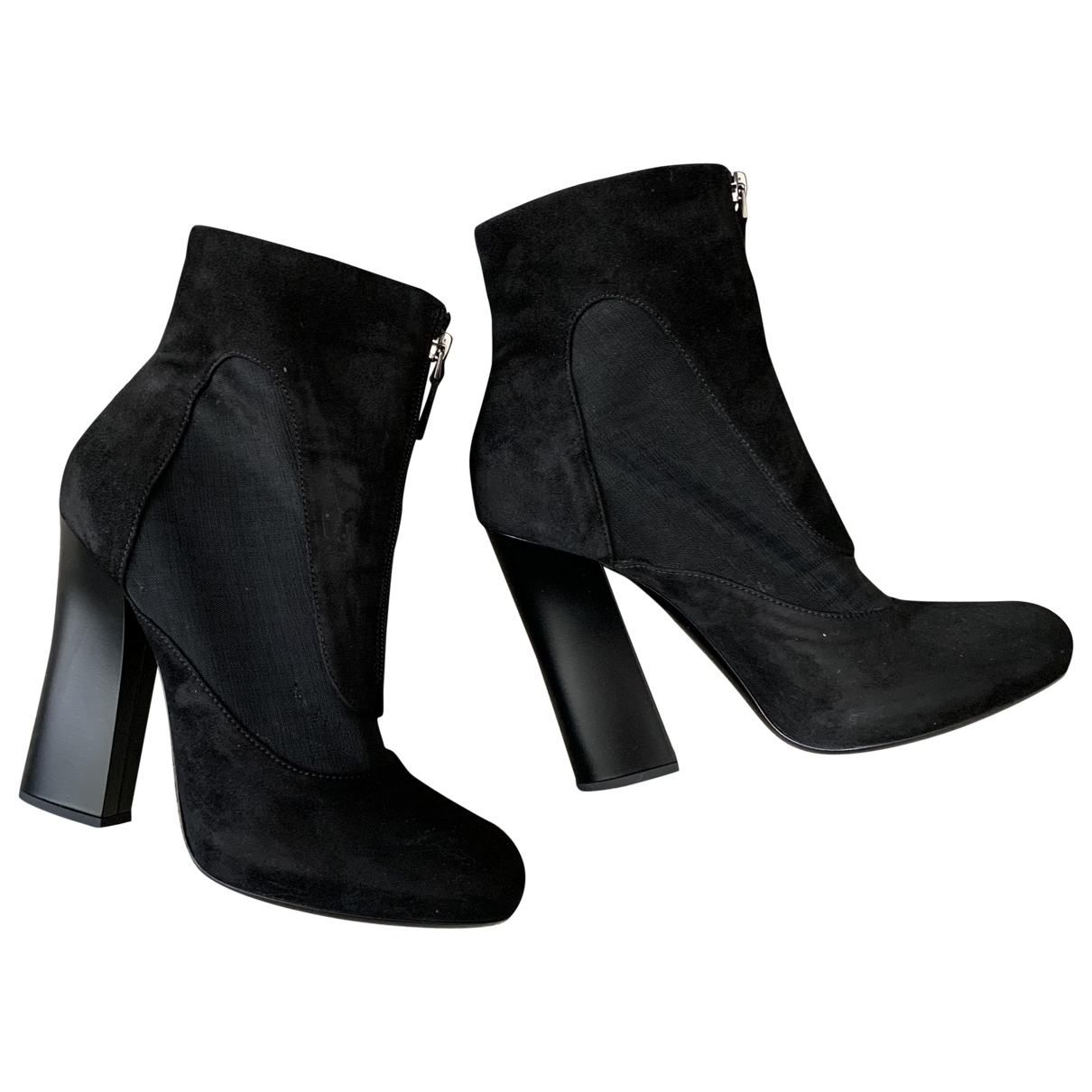 Emporio Armani \N Black Suede Ankle boots for Women 41 EU