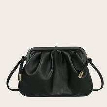 Clip Top Ruched Clutch Bag