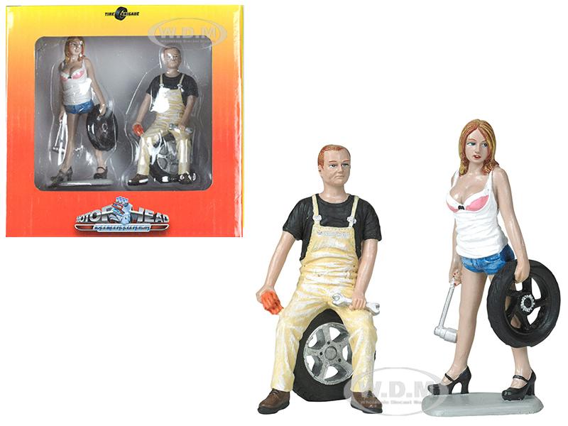 Meg and Derek Tire Brigade 2 piece Figurine Set 1/18 by Motorhead Miniatures