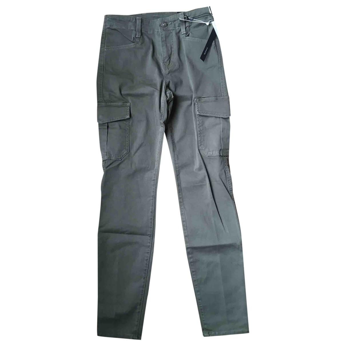 Vince \N Khaki Cotton Trousers for Women 36 FR