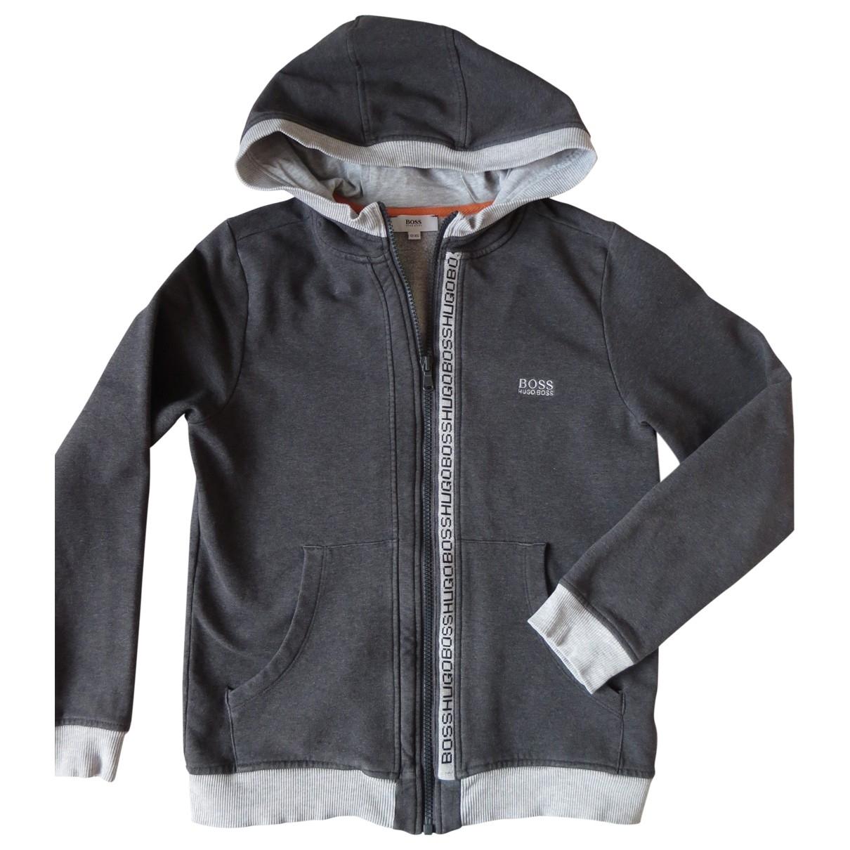 Boss - Pull   pour enfant en coton - gris