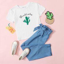 T-Shirt mit Pflanzen & Buchstaben Muster & Hose mit Papiertasche um die Taille und Guertel Set