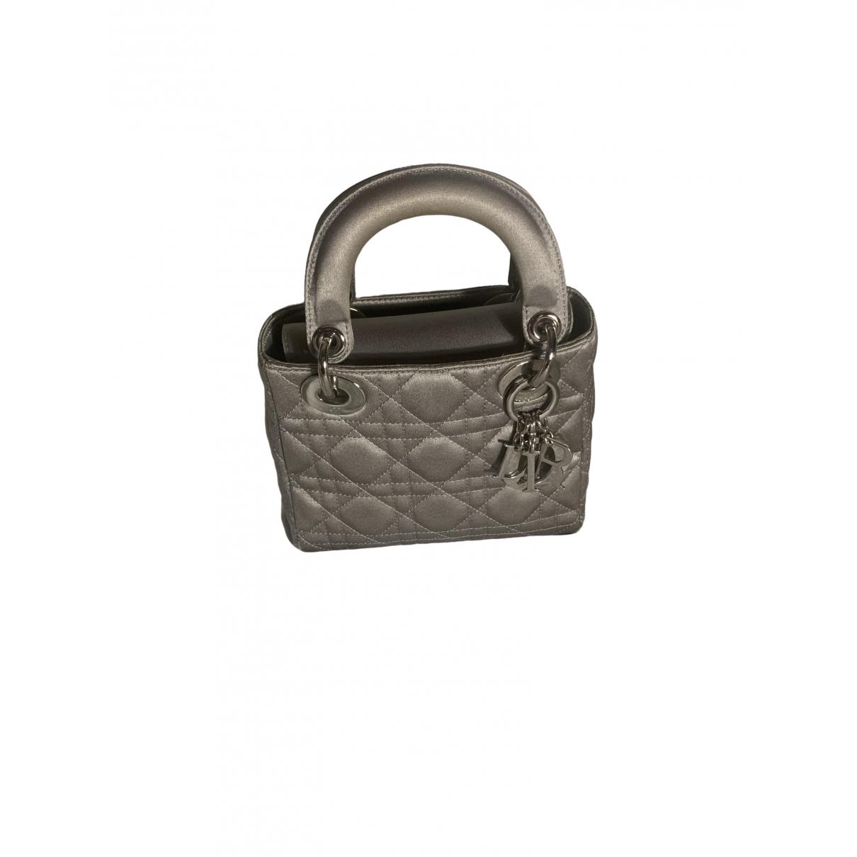 Dior - Sac a main Lady Dior pour femme en soie - argente