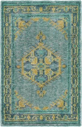 Zahra ZHA-4027 2' x 3' Rectangle Traditional Rugs in Emerald  Lime  Olive  Aqua  Dark Green  Light
