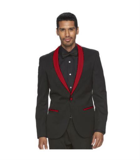 Mens Burgundy Shawl Lapel One Button Black Suit