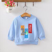 Sweatshirt mit Auto & Buchstaben Grafik