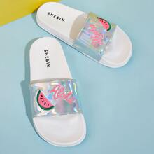 Holographic Watermelon Embroidered Open Toe Sliders