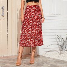 Ditsy Floral Print Button Side Skirt
