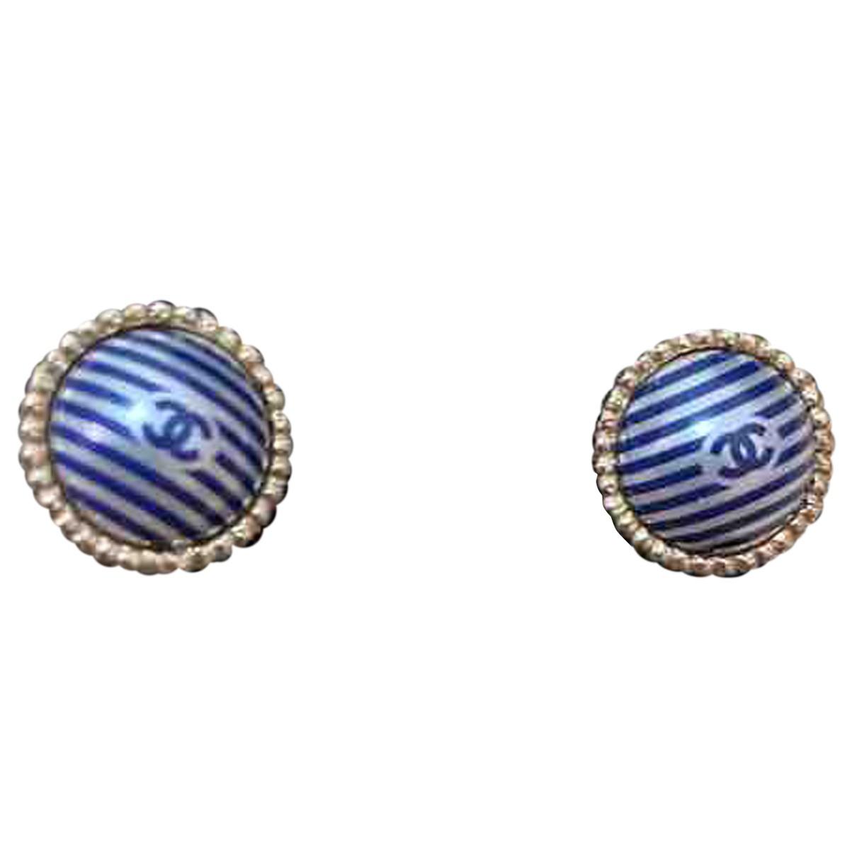 Chanel CC Blue Metal Earrings for Women N