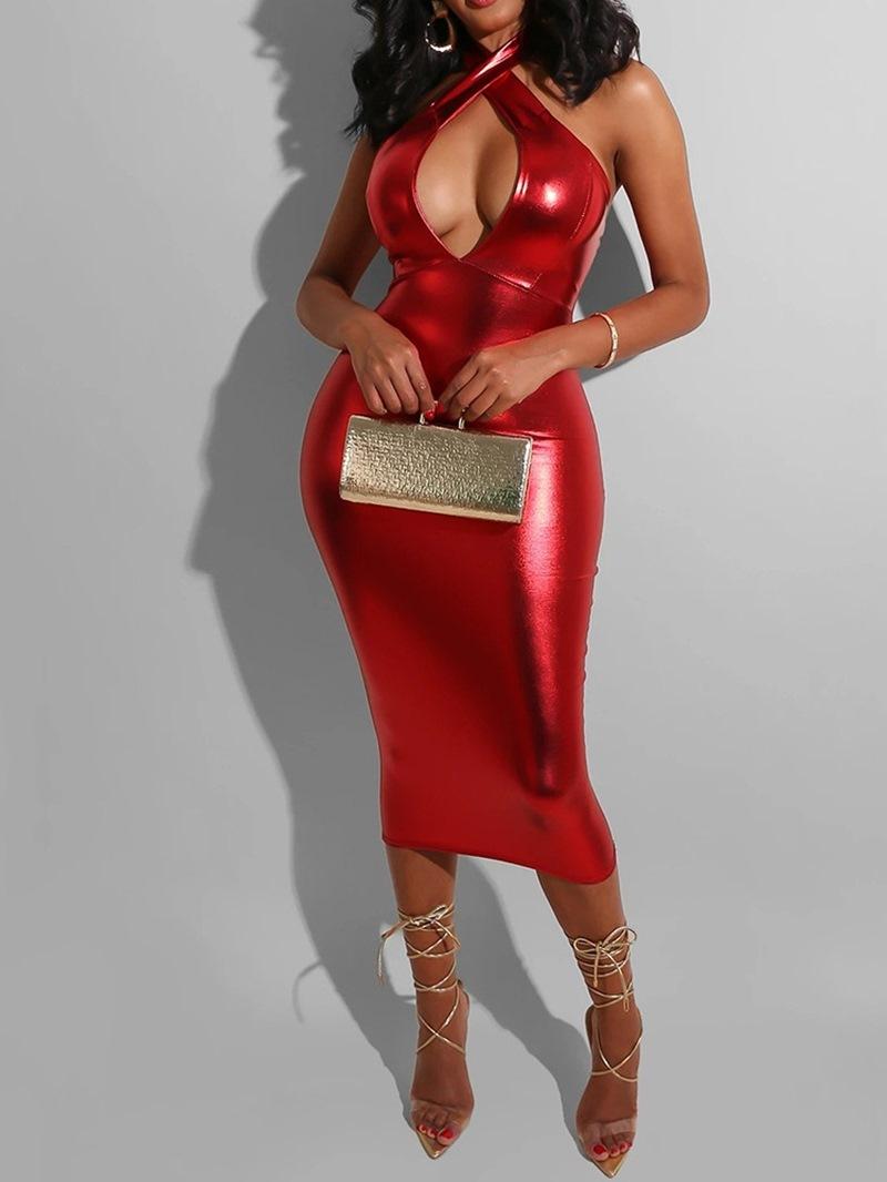 Ericdress Sleeveless Mid-Calf Backless High Waist Plain Women's Dress