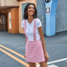 Criss Cross Back Plaid Suspender Skirt