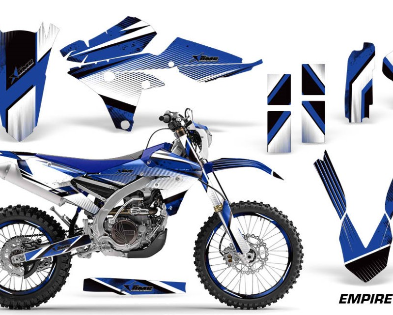 AMR Racing Graphics MX-NP-YAM-WR250F-15-18-WR450F-16-18-EMP U Kit Decal Wrap + # Plates For Yamaha WR250F 2015-2018 WR450F 2016-2018áEMPIRE BLUE