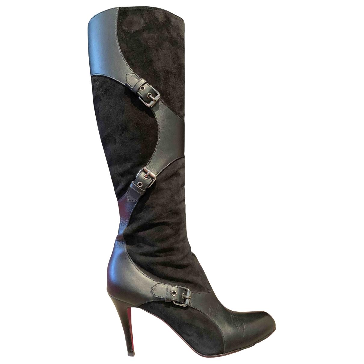 Christian Louboutin \N Black Leather Boots for Women 38.5 EU