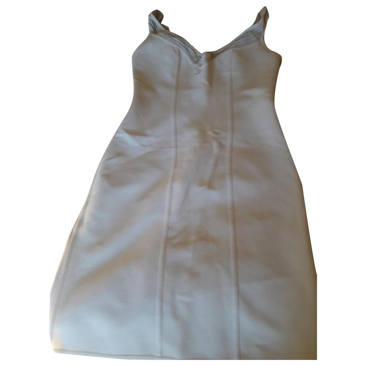 Herve Leger \N Kleid in  Weiss Baumwolle - Elasthan