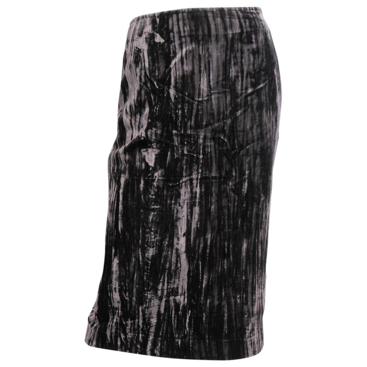 Falda midi de Terciopelo Yves Saint Laurent