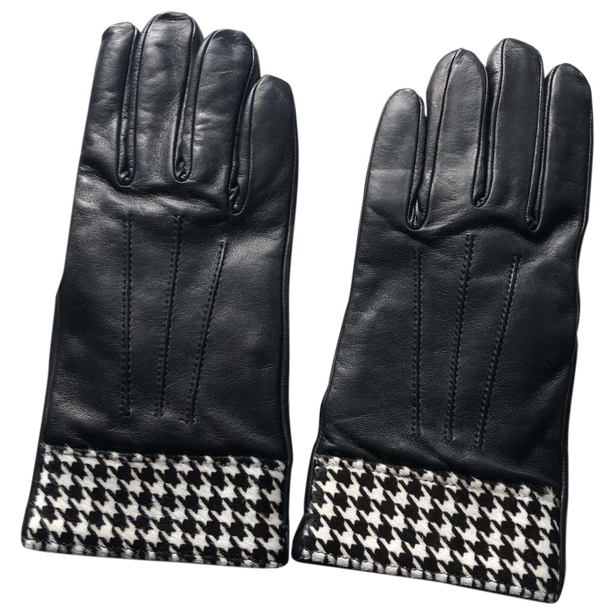 Max Mara - Gants   pour femme en cuir - noir