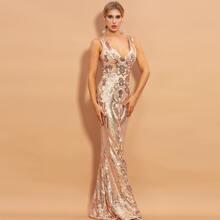 vestido de fiesta de sirena con lentejuelas de cuello V