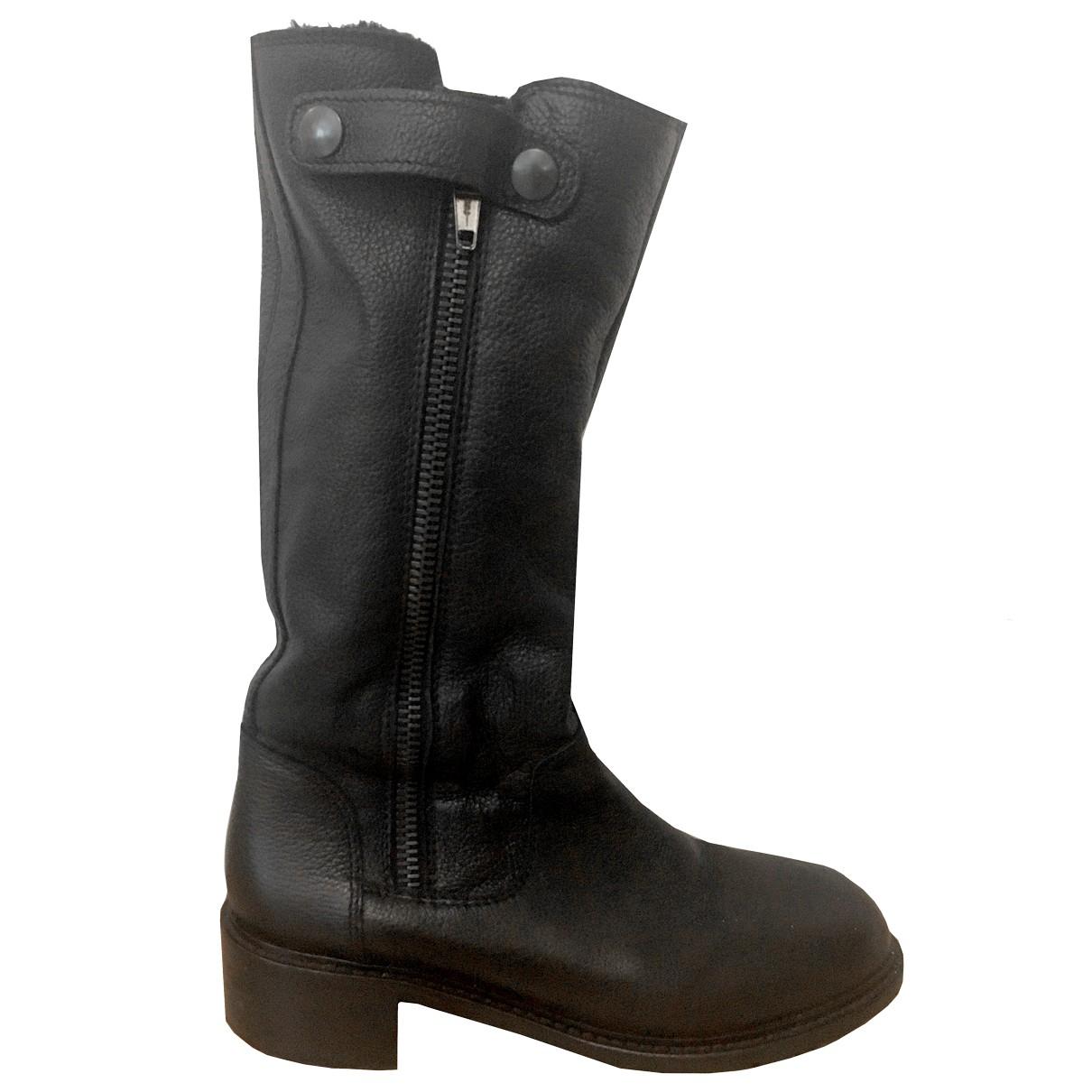 Vince - Bottes   pour femme en cuir - noir