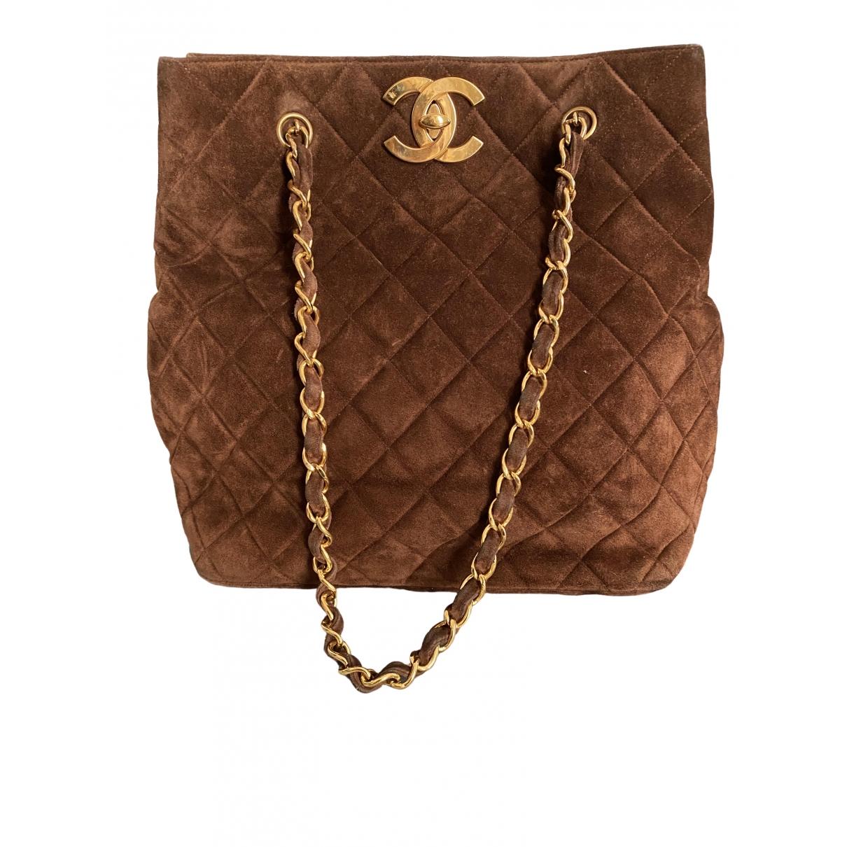 Chanel - Sac a main   pour femme en suede - marron