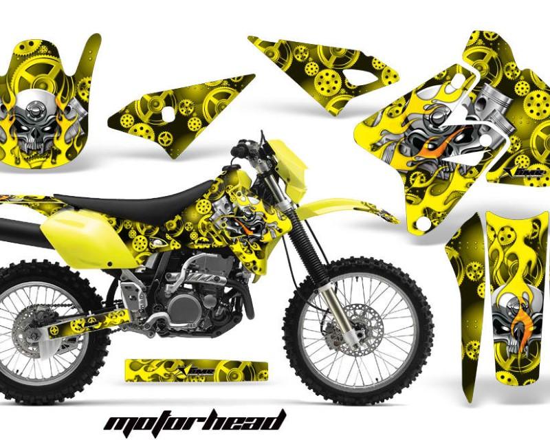 AMR Racing Dirt Bike Graphics Kit Decal Sticker Wrap For Suzuki DRZ400S 2000-2018áMOTORHEAD YELLOW