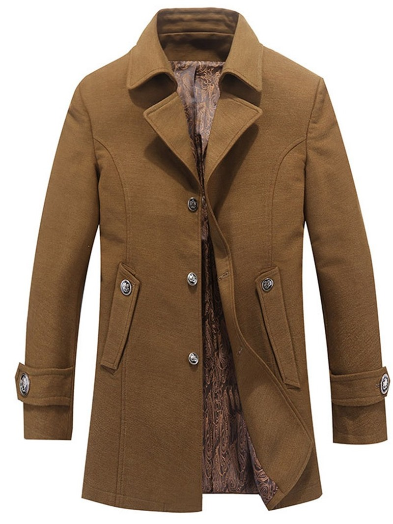 Ericdress Plain Mid-Length Pocket Casual Straight Mens Coat