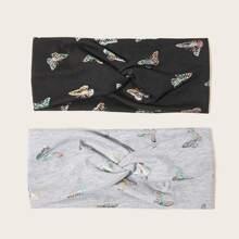 2pcs Butterfly Print Twist Headband