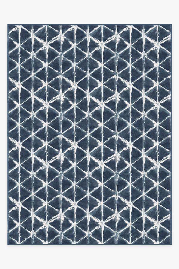 Washable Rug Cover & Pad   Diamond Shibori Navy Rug   Stain-Resistant   Ruggable   9'x12'