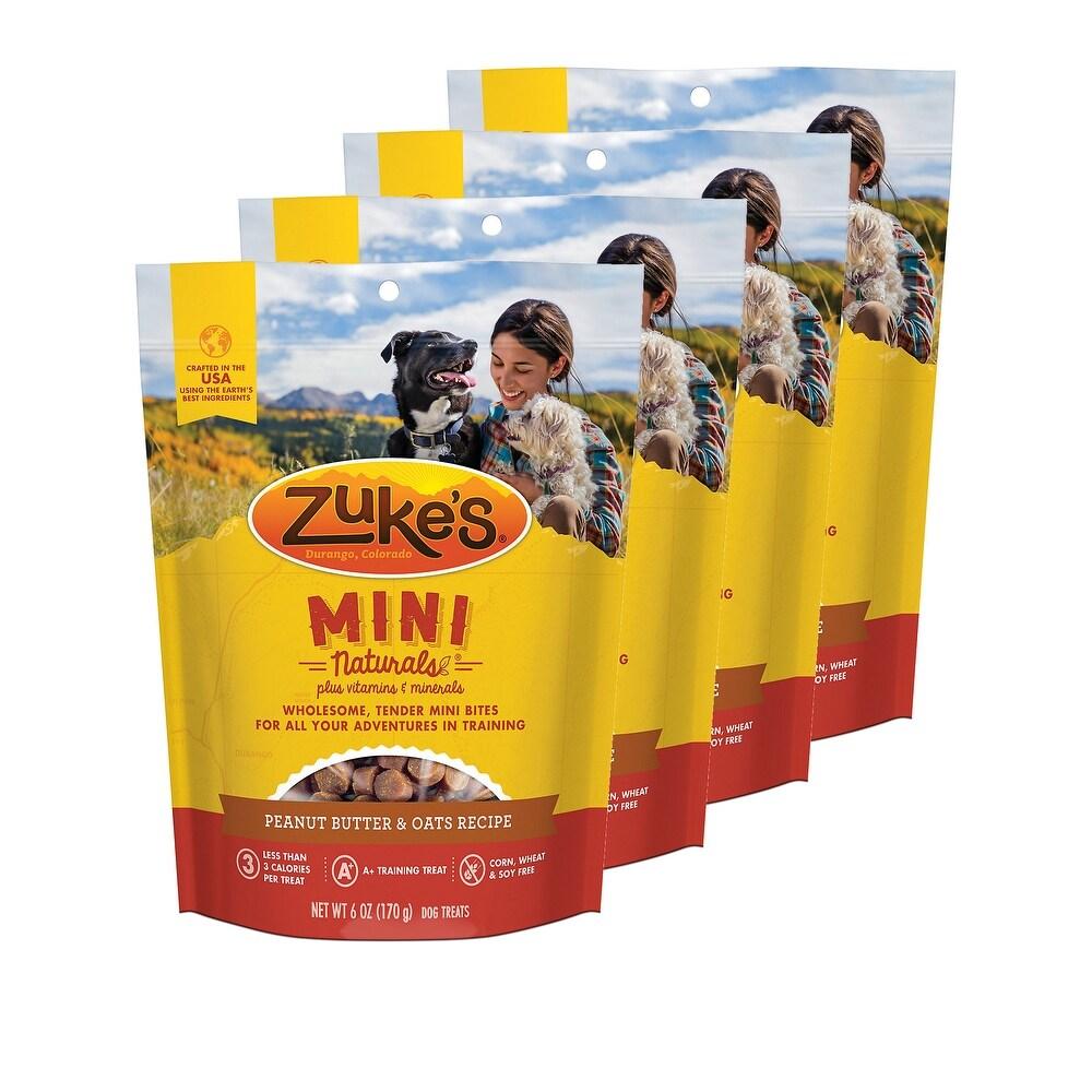 Zuke's  Mini Naturals Peanut Butter & Oats Recipe 6 oz Dog Treats 4 Pack