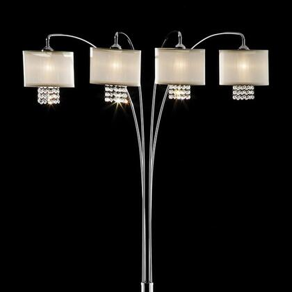 Claris L99742 Arch Lamp with Chrome finish  Marble base  Ivory shades  Shade: 8
