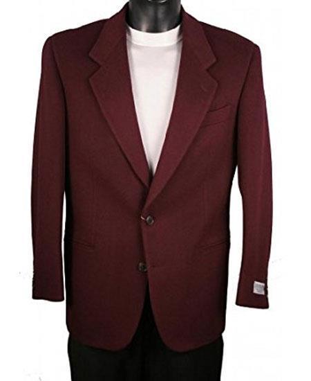 Men's Wine Notch Lapel 2 Button Single Breasted Blazer