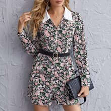 Button Front Ditsy Floral Dress Without Belt