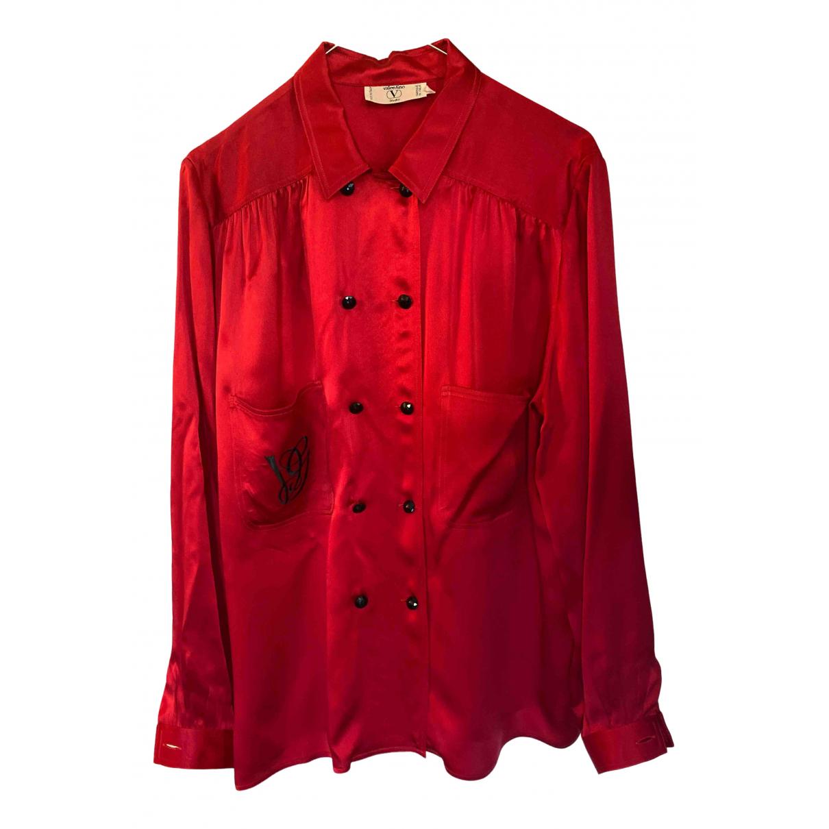 Valentino Garavani N Red Silk  top for Women 46 IT