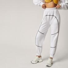 Jogginghose mit Band Detail und elastischer Taille