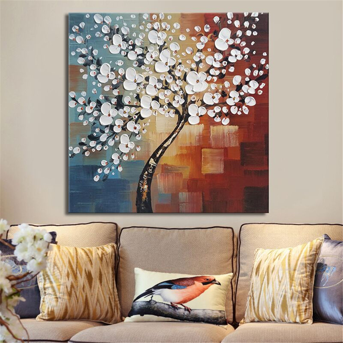 Framed Hand Paint Canvas Painting Home Decor Wall Art Abstract Flower Tree Decoration