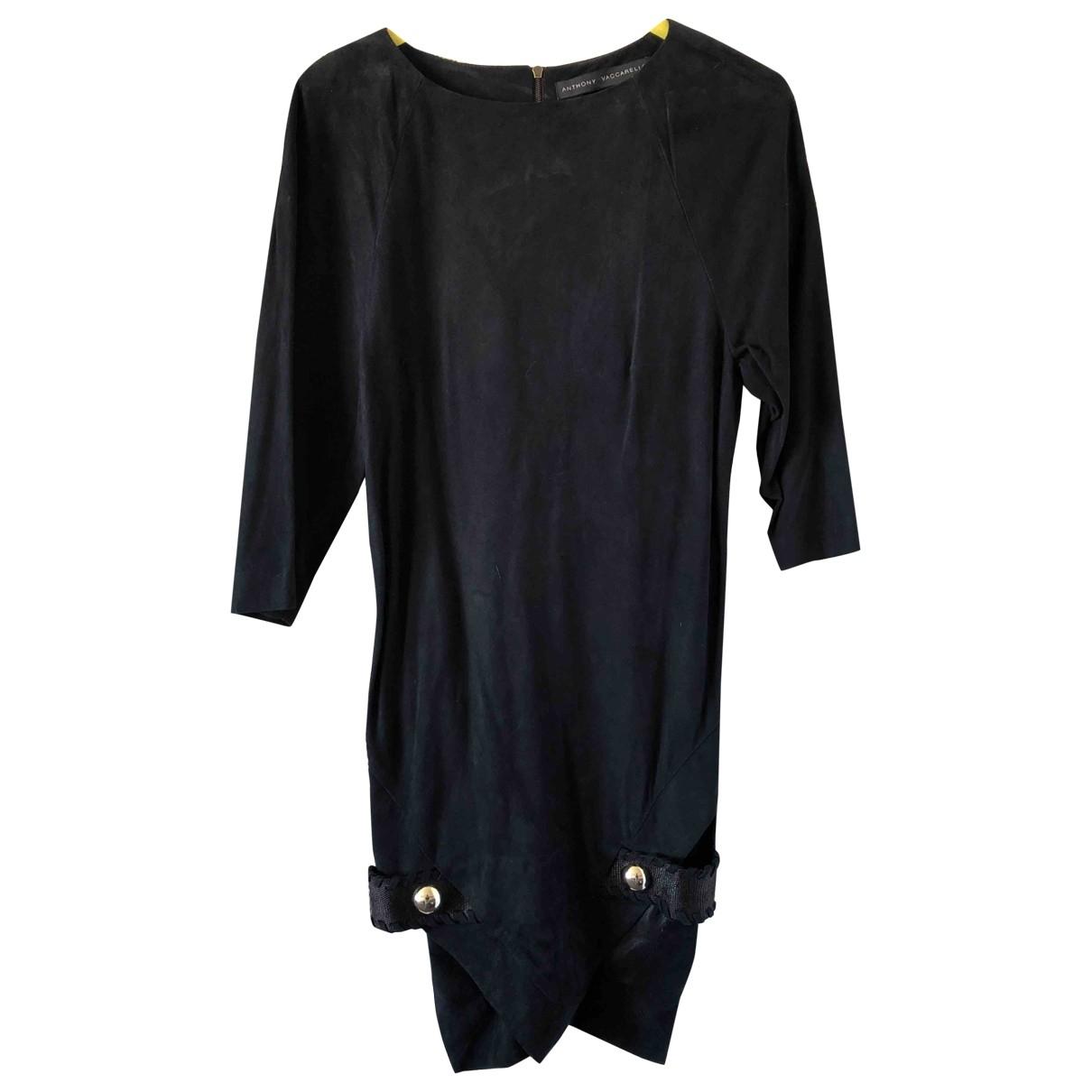 Anthony Vaccarello \N Kleid in  Schwarz Veloursleder