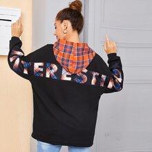 Sweatshirt mit Reissverschluss, Buchstaben Grafik, Karo Muster und Kapuze