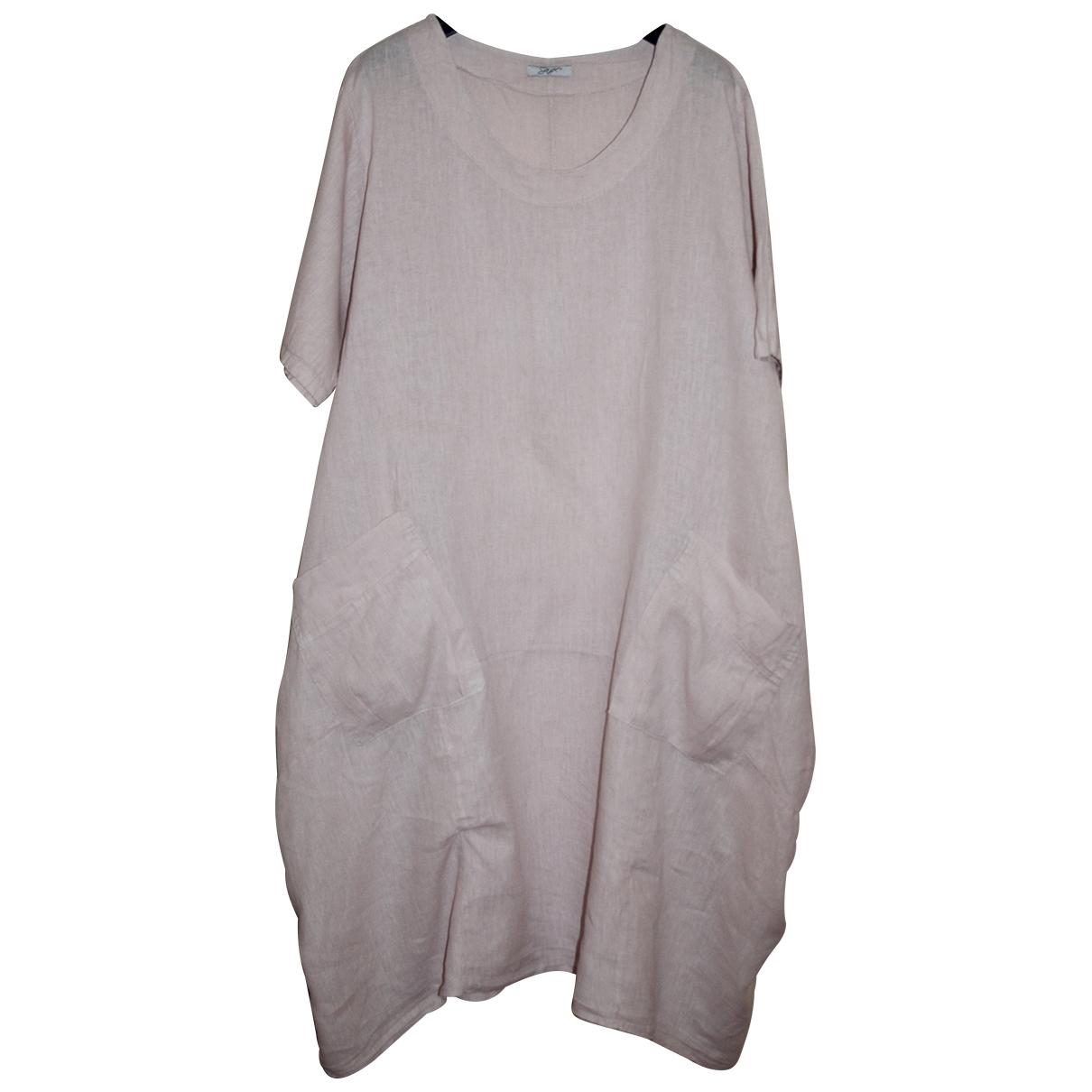 Non Signe / Unsigned Oversize Kleid in  Rosa Leinen