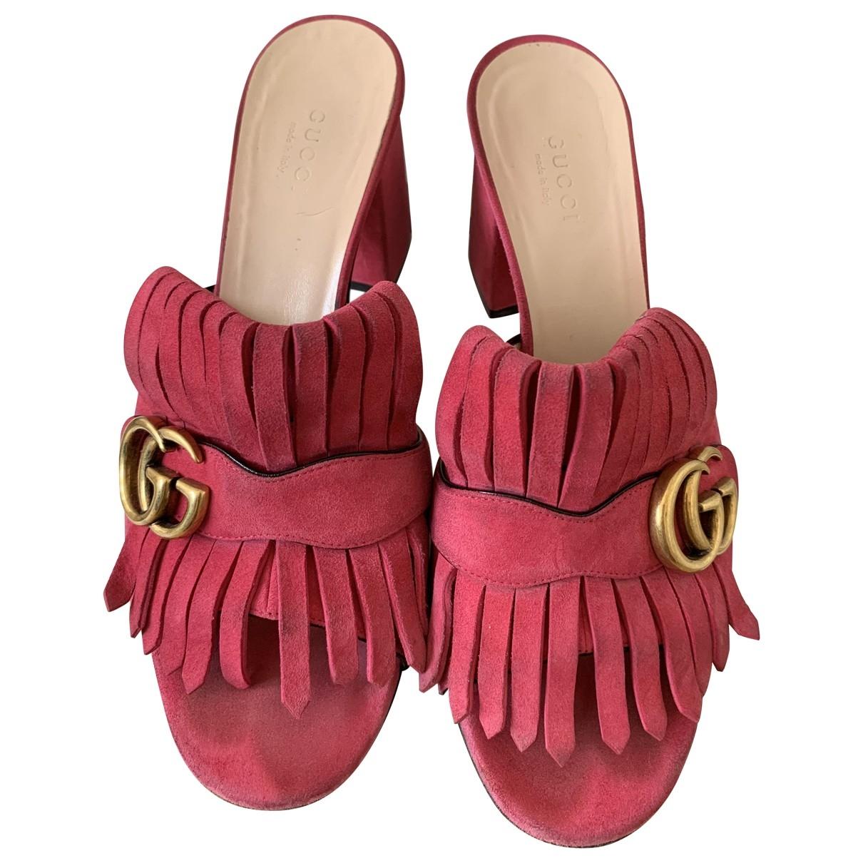 Gucci \N Pink Suede Mules & Clogs for Women 38.5 EU