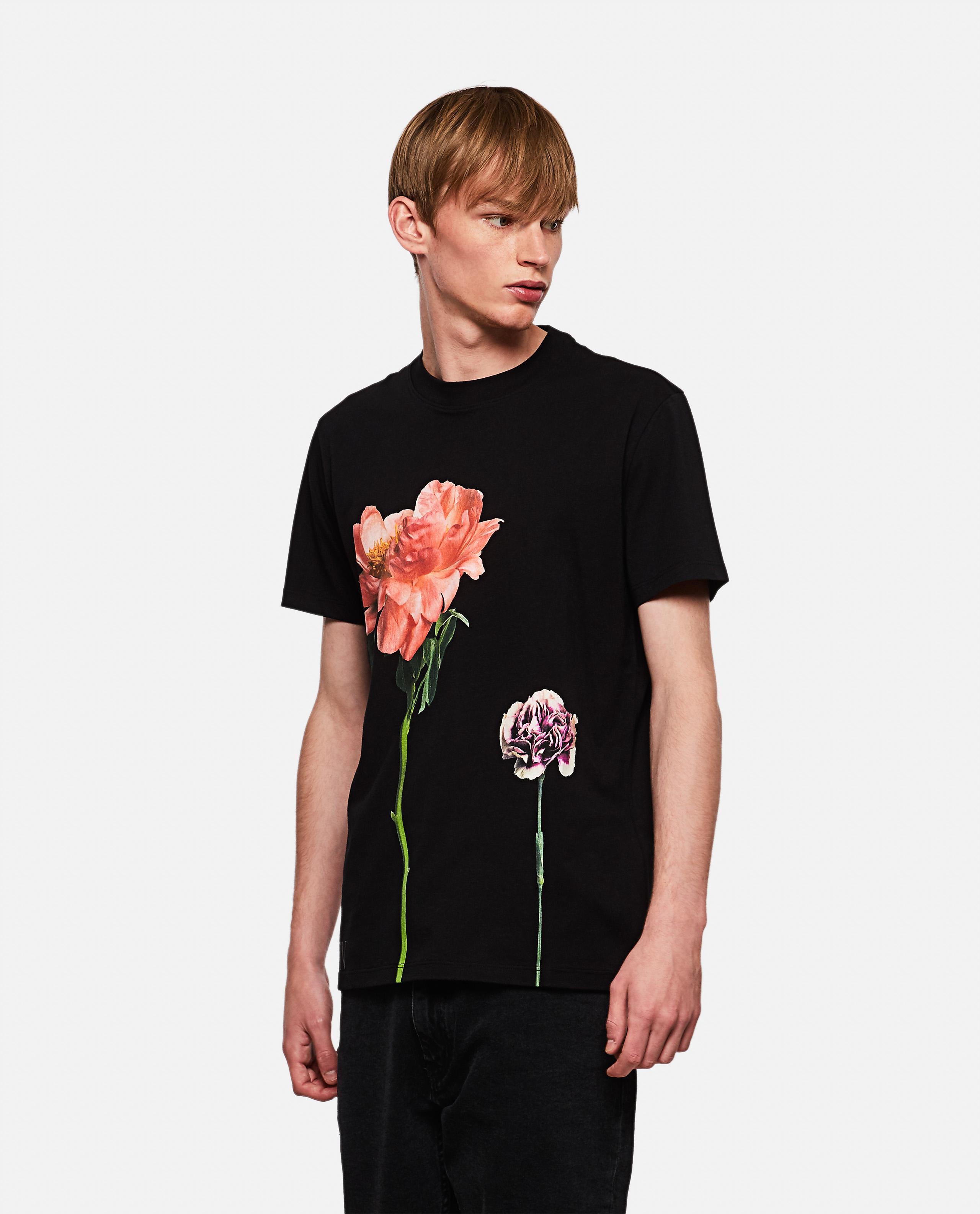 Cotton crewneck T-shirt with Flowersity print