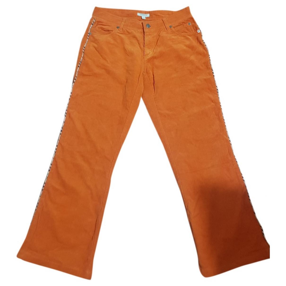 Burberry \N Orange Cotton Trousers for Women 40 IT
