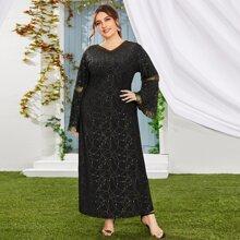 Maxi Kleid mit Glitzer, Kontrast Spitze und Schosschenaermeln