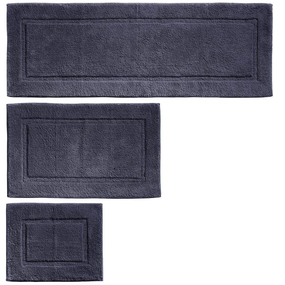Cotton Spa Bath Mats with Border - Set of in Navy, 17