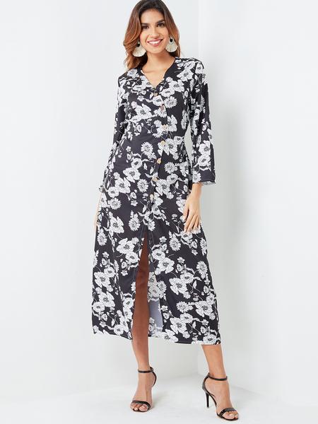 Yoins Black Single Breasted Random Floral Print Surplice Dress
